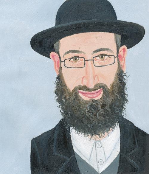 Gens, peinture, de, homme, à, barbe, et, chapeau