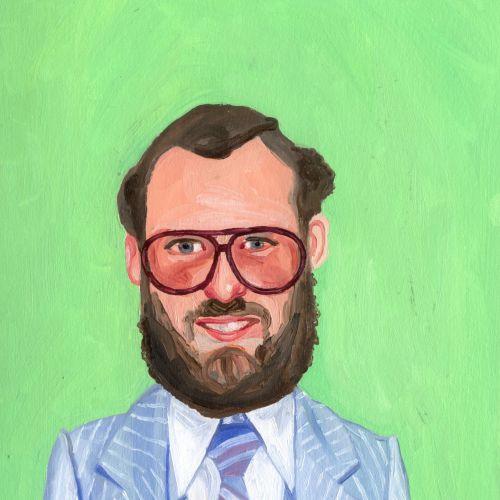 Portrait painting of smiley beard man