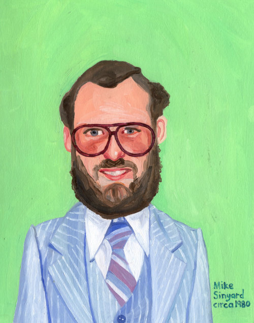 Portrait painting of smiley beard man