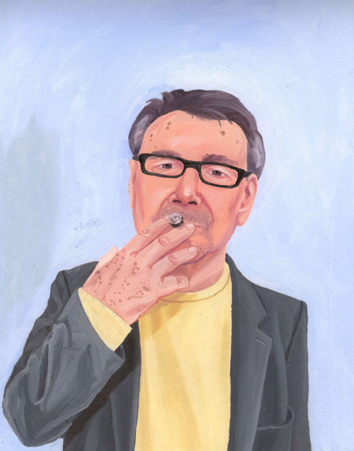 Peinture d'homme au cigare