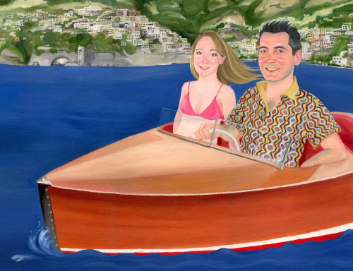 Lifestyle couple in boat