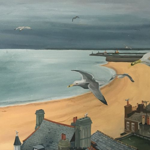 Painting of beach with houses