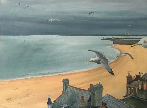 Peinture de plage avec maisons