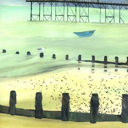 Nature painting of bridge in water