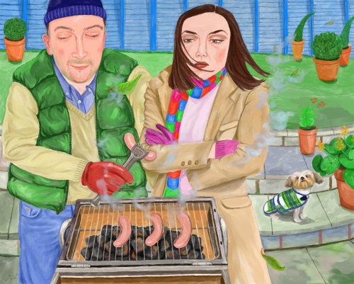 Les gens de style de vie doint barbecue