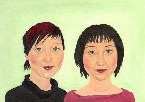 peinture de deux femmes