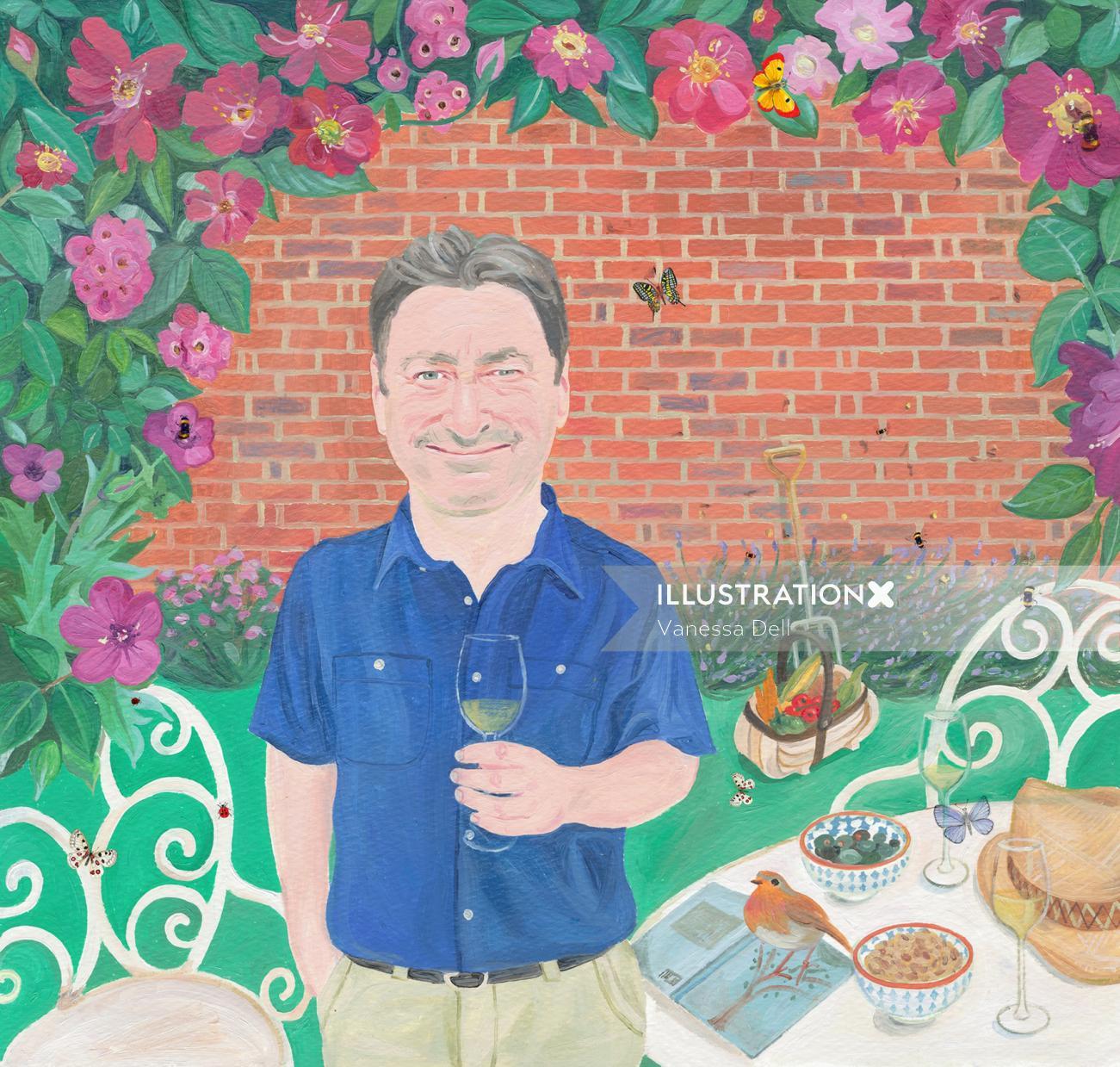 Portrait of Alan Titchmarsh in a garden