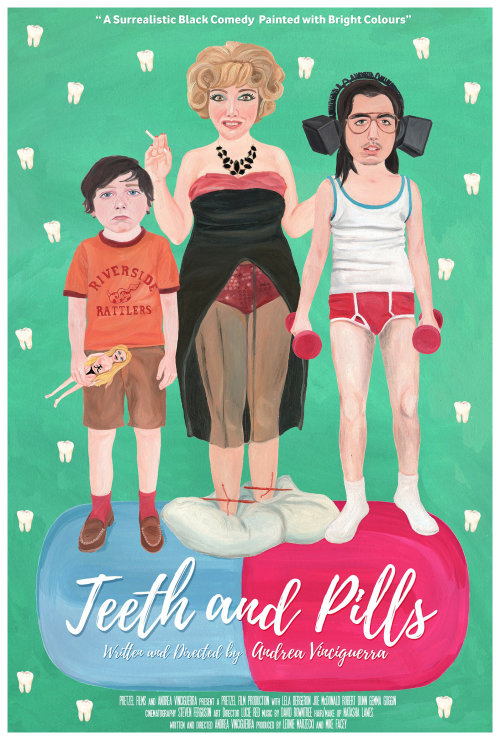 A poster for the short film 'Teeth & Pills'