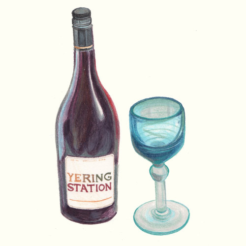drawing of yering station bottle and glass
