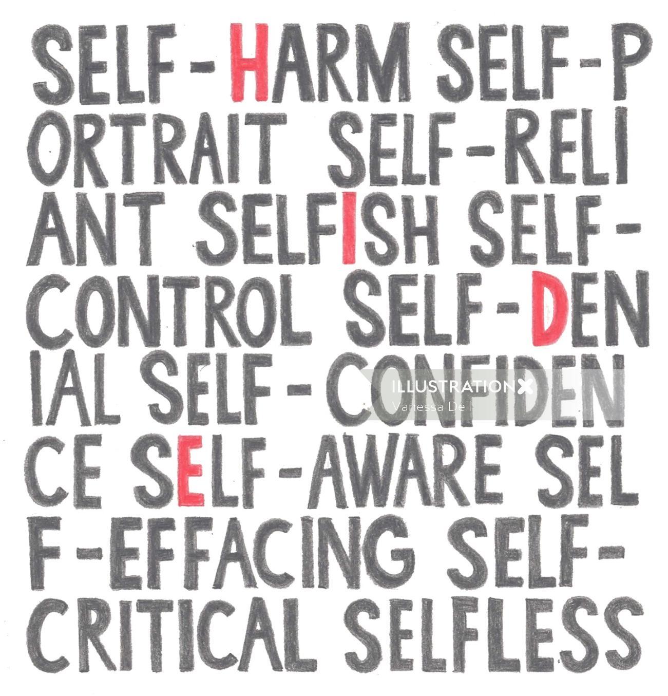 Lettering of Self Harm