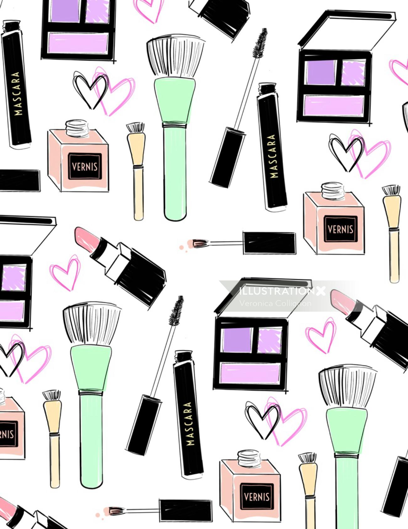 Beauty products pattern design
