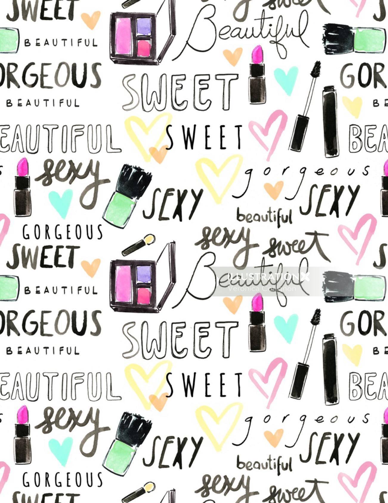 Beauty cosmetics pattern design