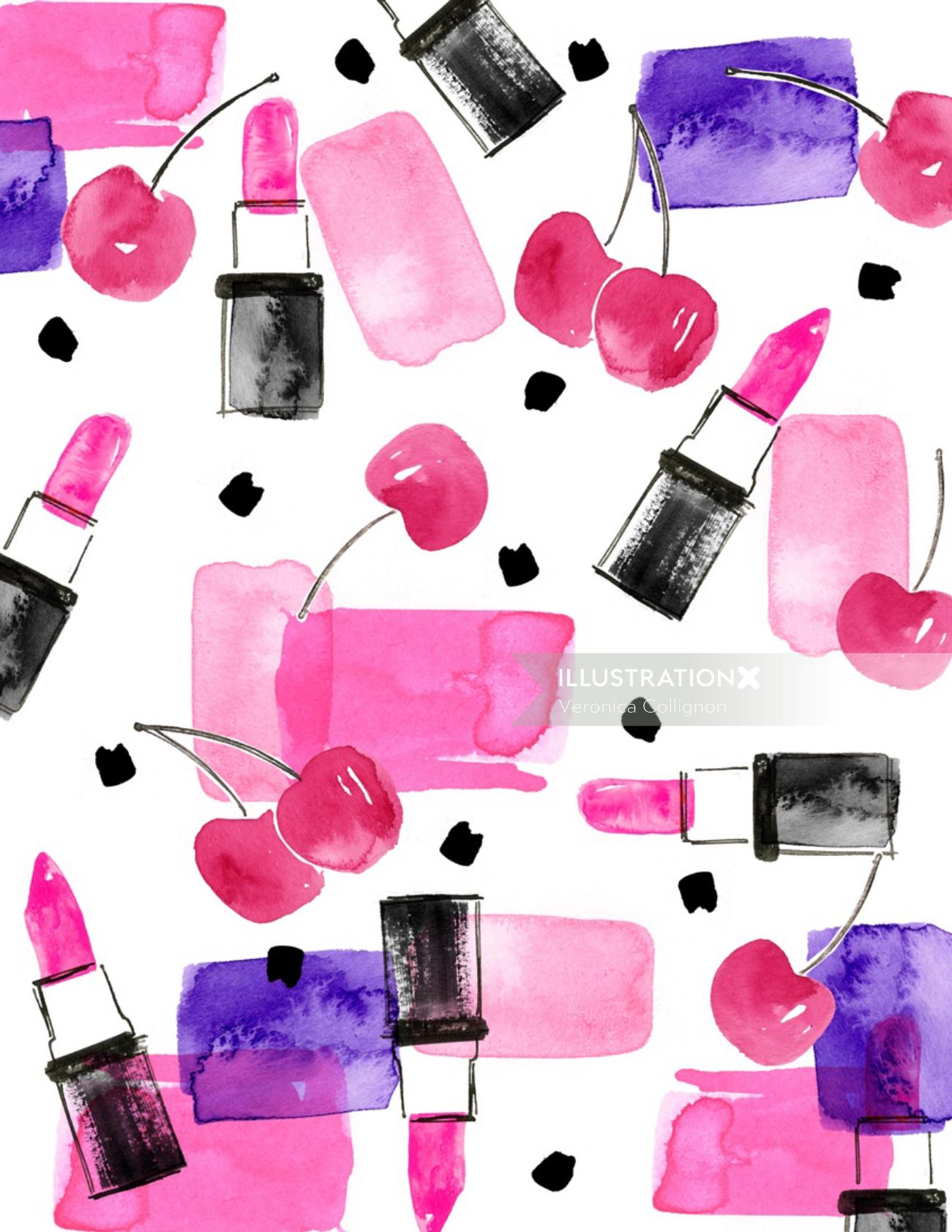 Pattern design of cherries and lipsticks
