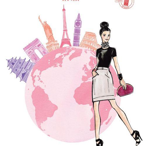 Fashion Sketch Of Girl & Globe For Elizabeth Arden