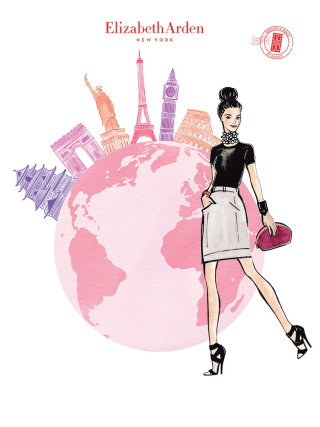 Fashion Sketch Of Girl & Globe For Elizabeth Arden