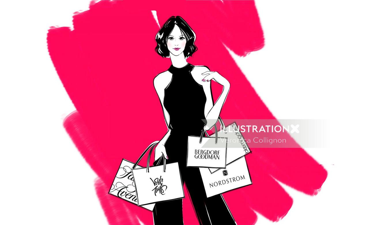 Ink drawing of lady with shopping bags
