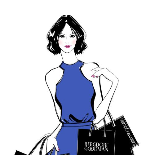 Young lady with shopping bags fashion illustration
