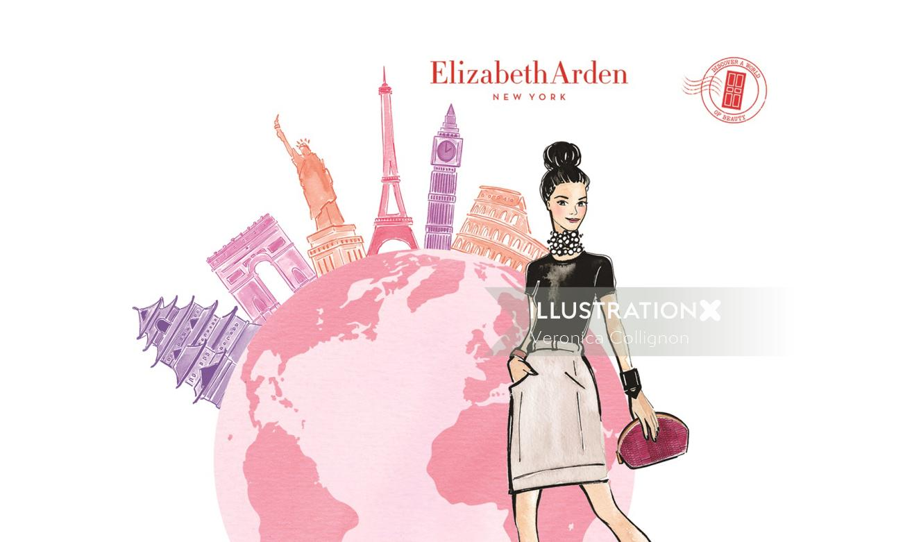 Girl & Globe For Elizabeth Arden