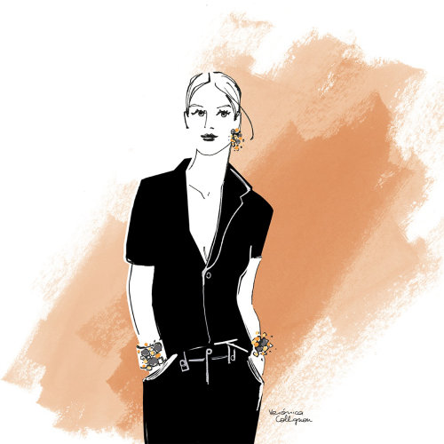 Fashion Woman posing in black
