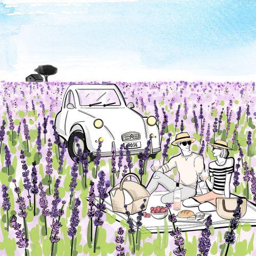 Watercolor illustration of couple picnic