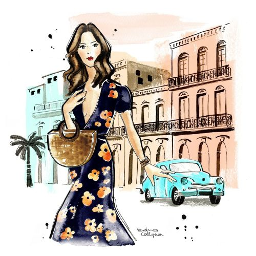 Sezane inspired girl at Havana Cuba fashion illustration
