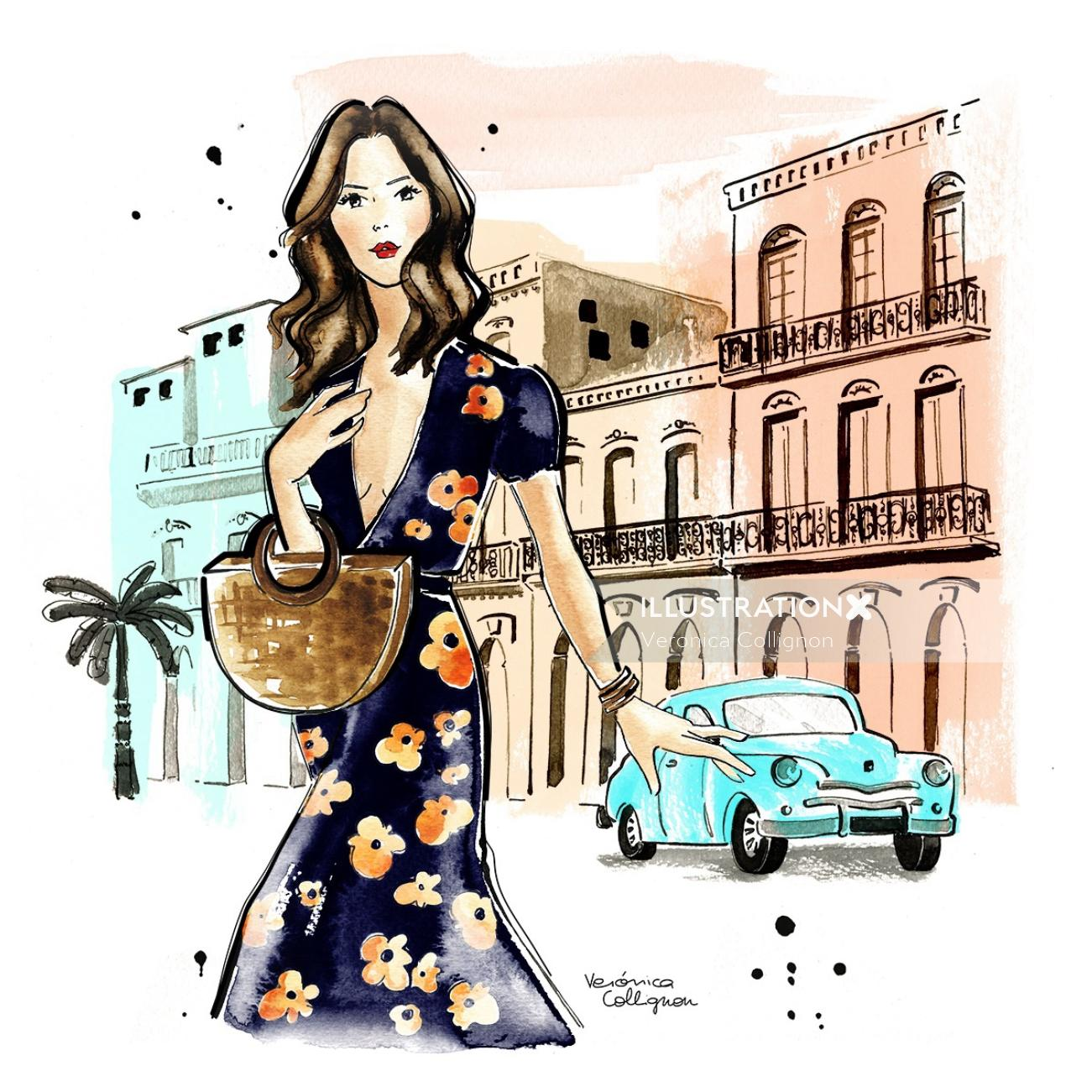 Sezane inspired girl at Havana Cuba fashion illustration