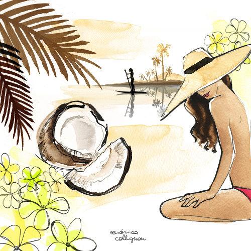Arte acuarela de mujer en la playa