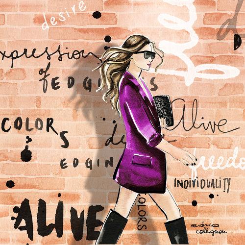 Fashion woman walking in purple