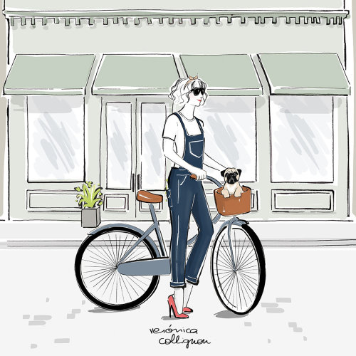 Watercolor painting of girl raiding cycle