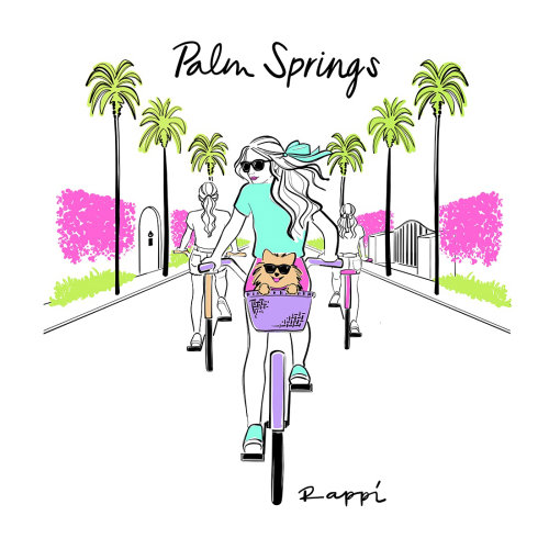 Palm spring watercolor painting