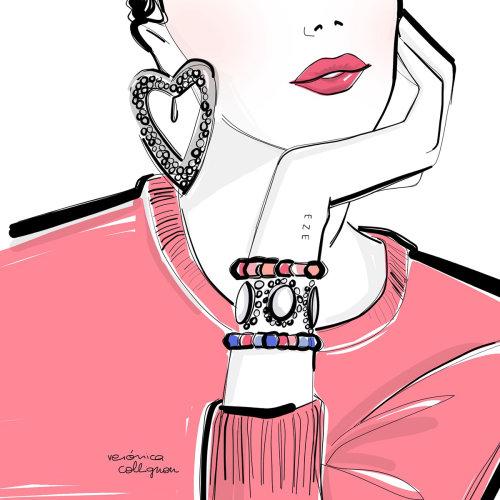 Beauty illustration of woman jewellery