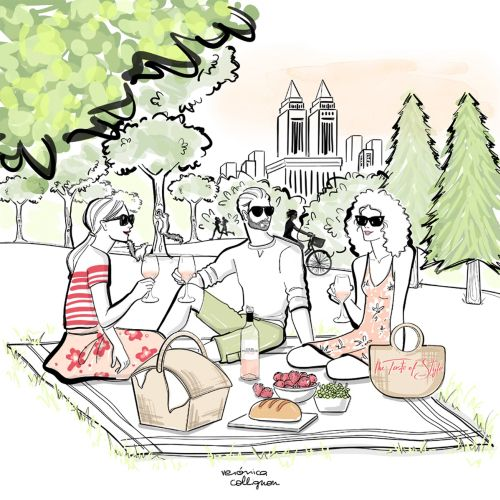 Watercolor painting of Friends at a picnic in Central Parc sipping Rose