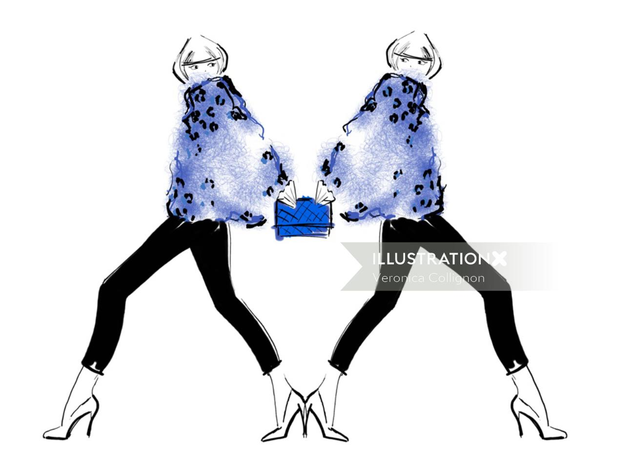 An illustration of woman in blue fashions