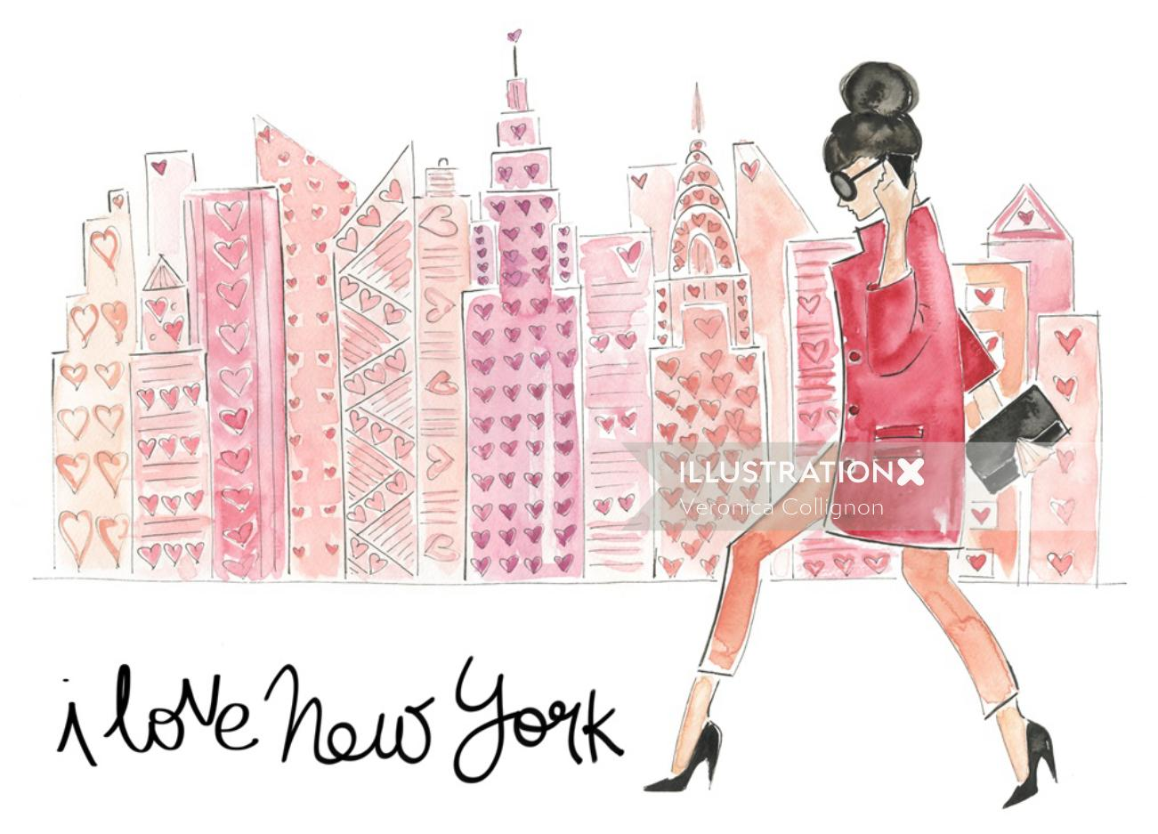 New York fashion woman illustration by Veronica Collignon