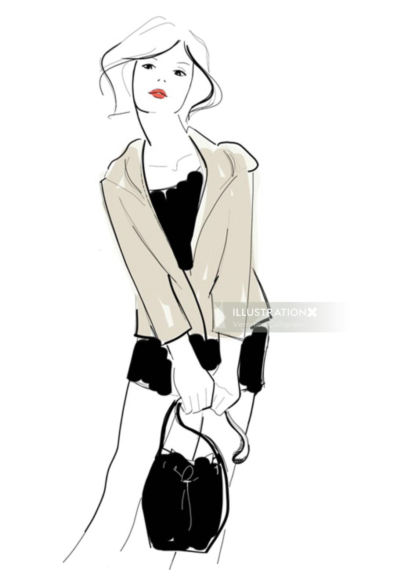 An illustration of fashion lady holding handbag