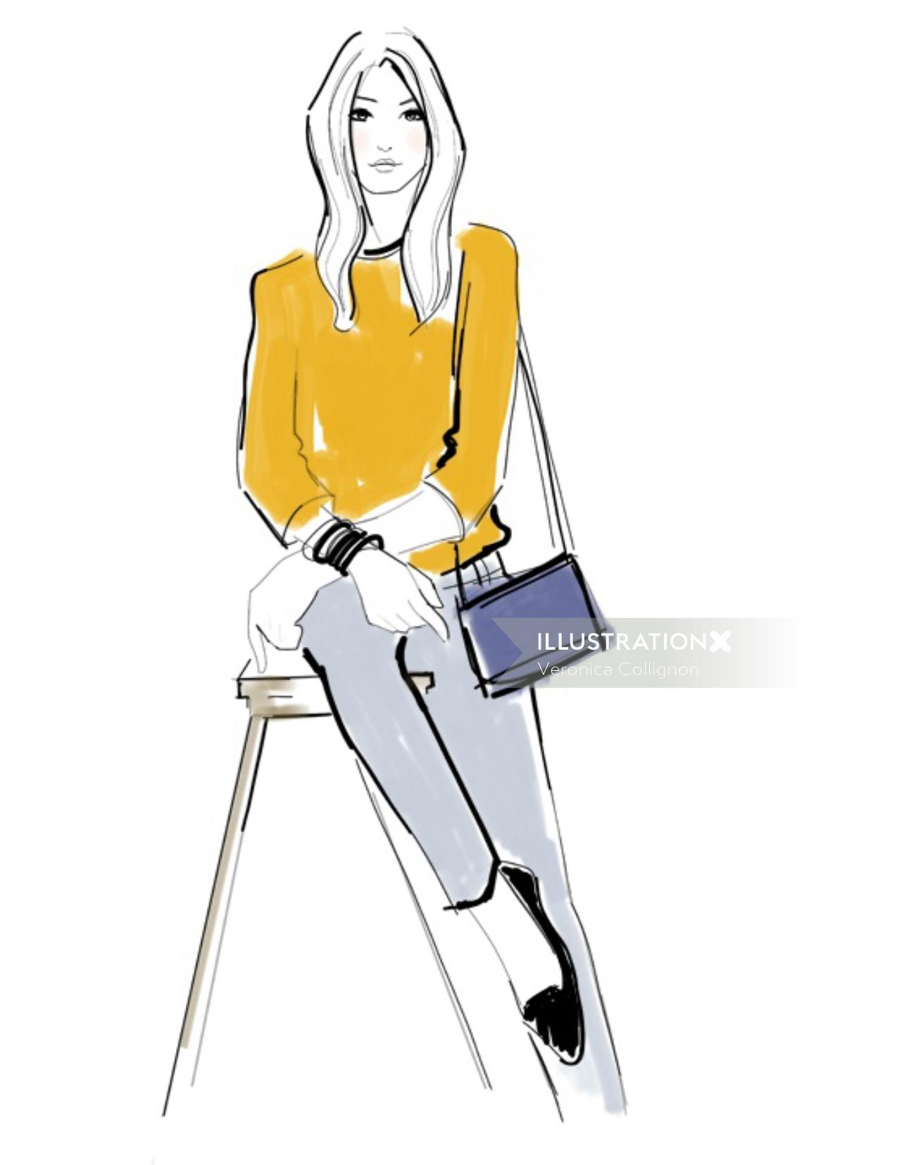 An illustration of a woman sitting on table
