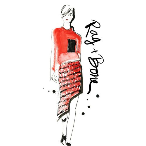 Lady in red causals | Fashion illustration style gallery