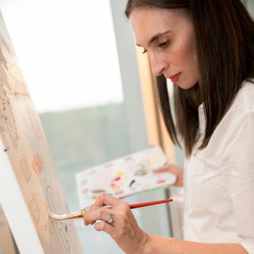 Evento en vivo dibujando a Veronica en el trabajo