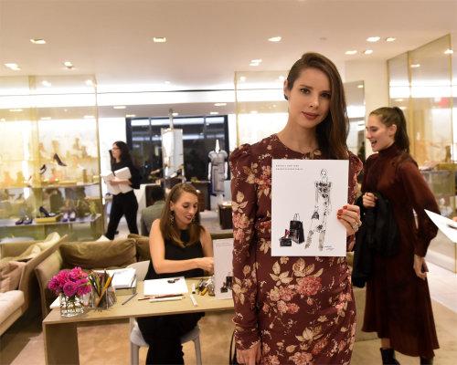 Chica de evento en vivo con dibujo