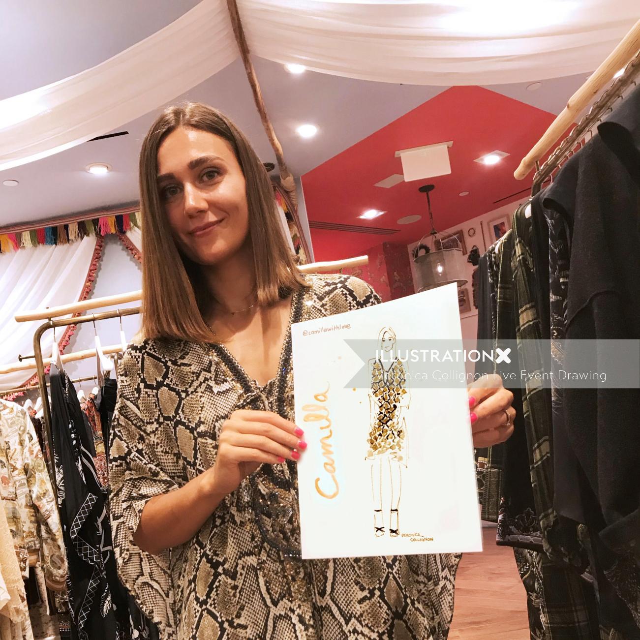 Live Event Drawing Camilla fashion sketch