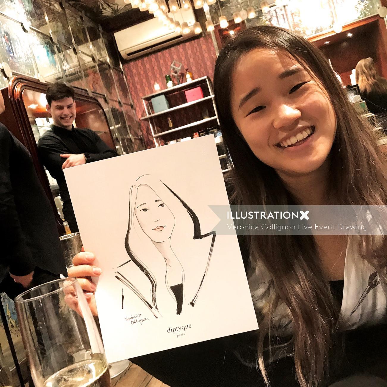 Live event drawing teenage girl