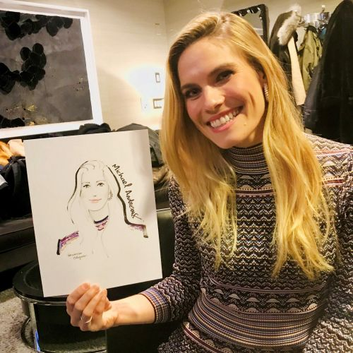 Live event drawing happy woman