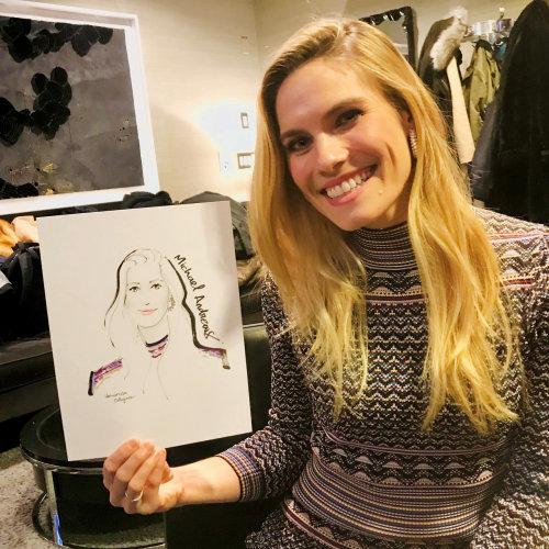 Evento en vivo dibujo mujer feliz