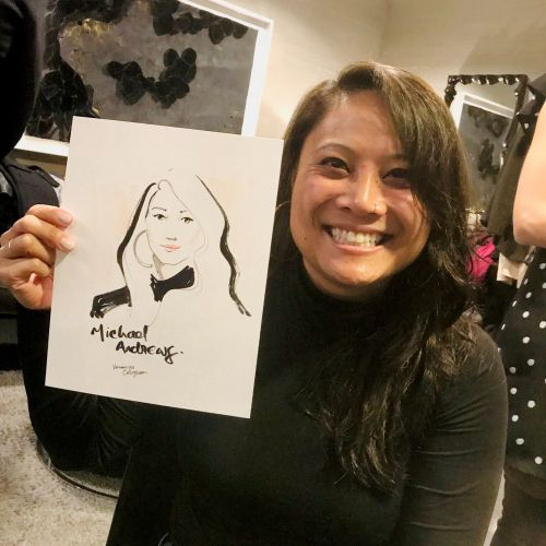 Live event drawing aged woman