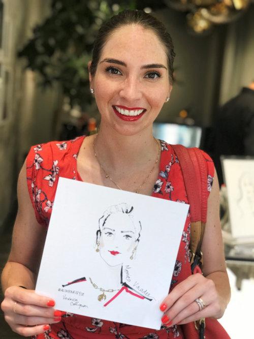 Evento en vivo dibujo mujer sonriente con boceto