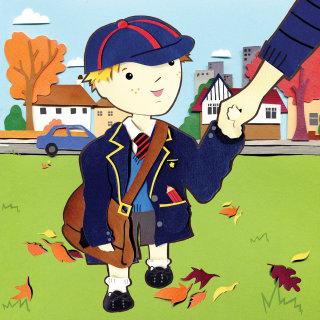 little boy wearing oversized school uniform
