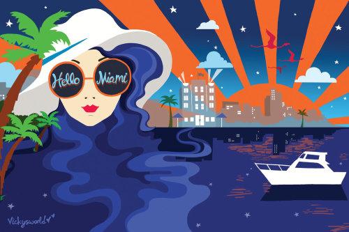 miami, paisagem urbana, pôr do sol, estrelas, óculos de sol, chapéu, moda, flamingo, palmeiras,