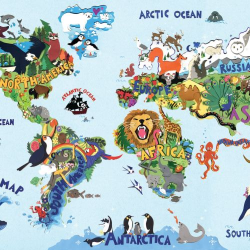 Graphic illustration of Animal World Map