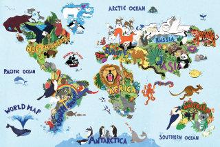 animals, wildlife, map, birds, lion, penguin, toucan, eagle, ele, octopus