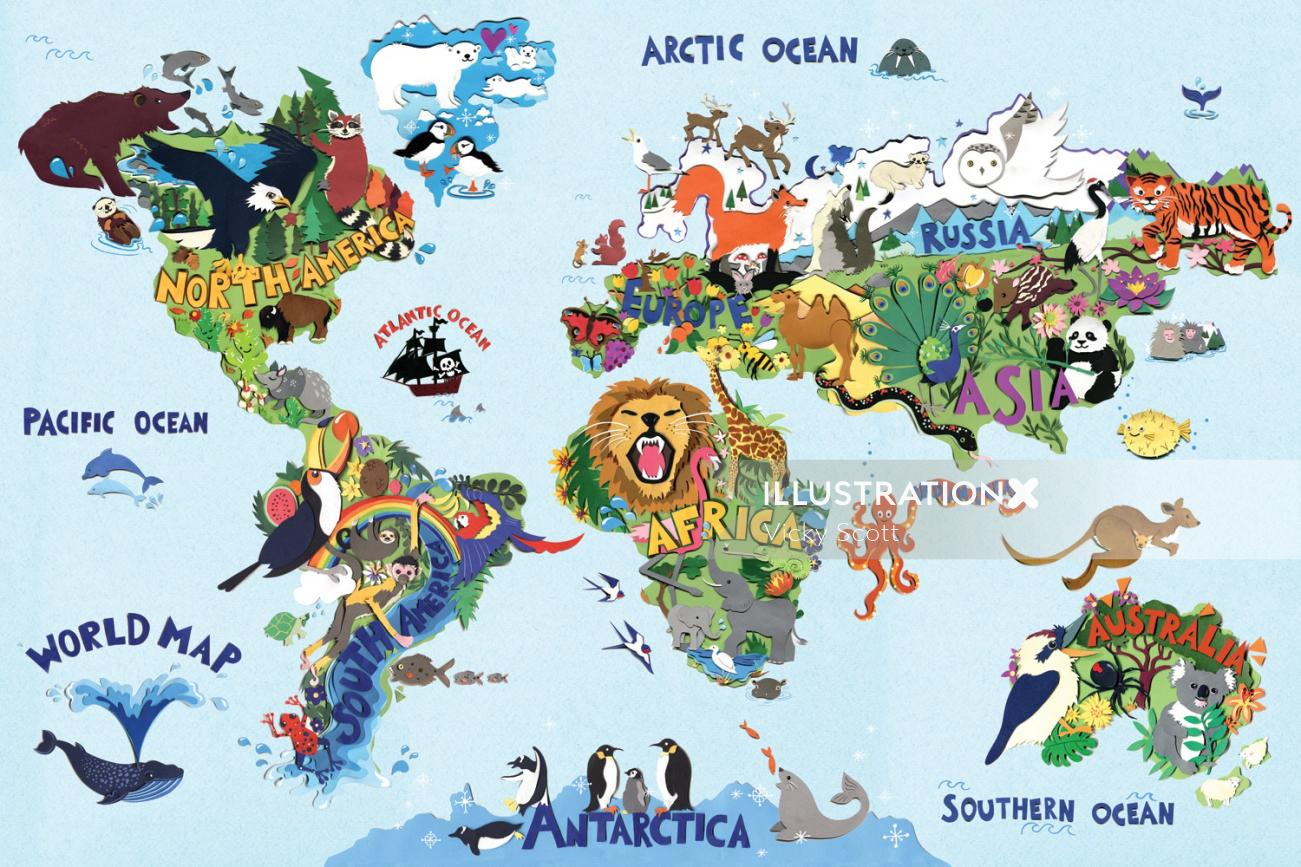 animals, wildlife, map, birds, lion, penguin, toucan, eagle, ele, octopus